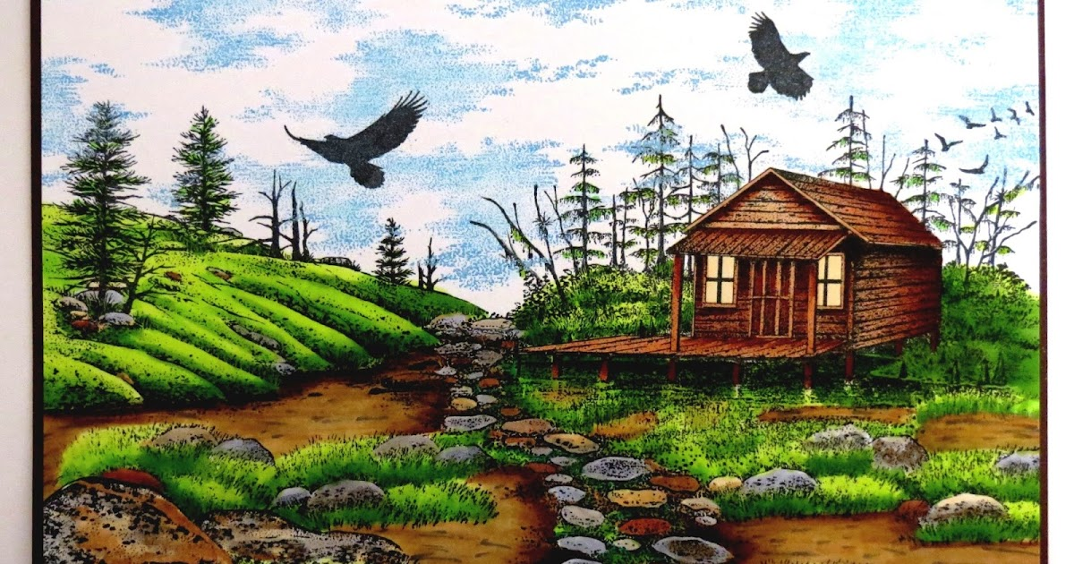 Crackerbox palace rubber stamp blog stampscapes cabin on land for Cabin lots