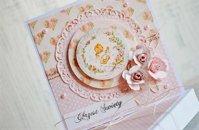 chrzest święty kartka z pudełkiem scrapbooking rose creation spelbinders
