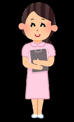 ピンク色の制服の女性看護師のイラスト