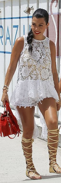 all white lace Kourtney Kardashian street style