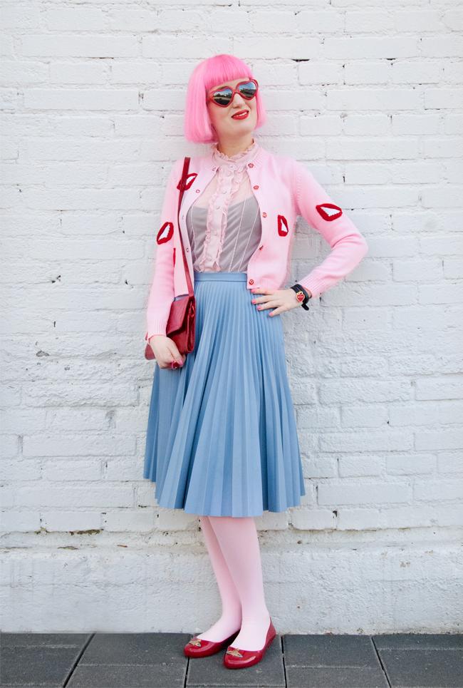 vivetta, leather skirt, heart shaped glasses