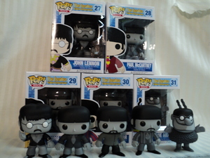 "Black and White The Beatles Pop! Rocks ""Color Reject"" Set Vinyl Figures by Funko - John Lennon, Paul McCartney, George Harrison, Ringo Starr & the Blue Meanie"