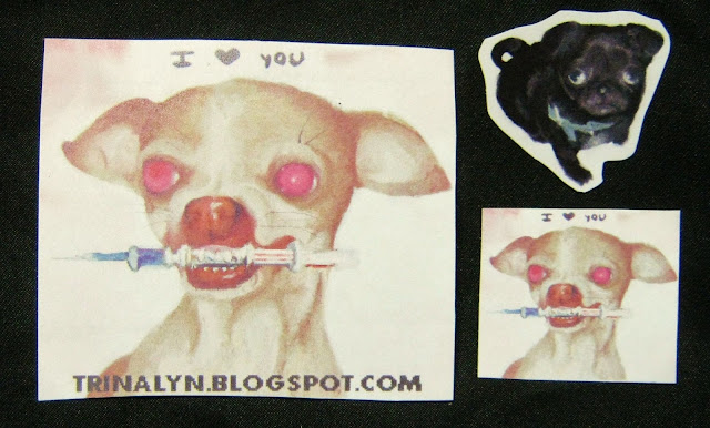 original handmade stickers dog canine needle dog
