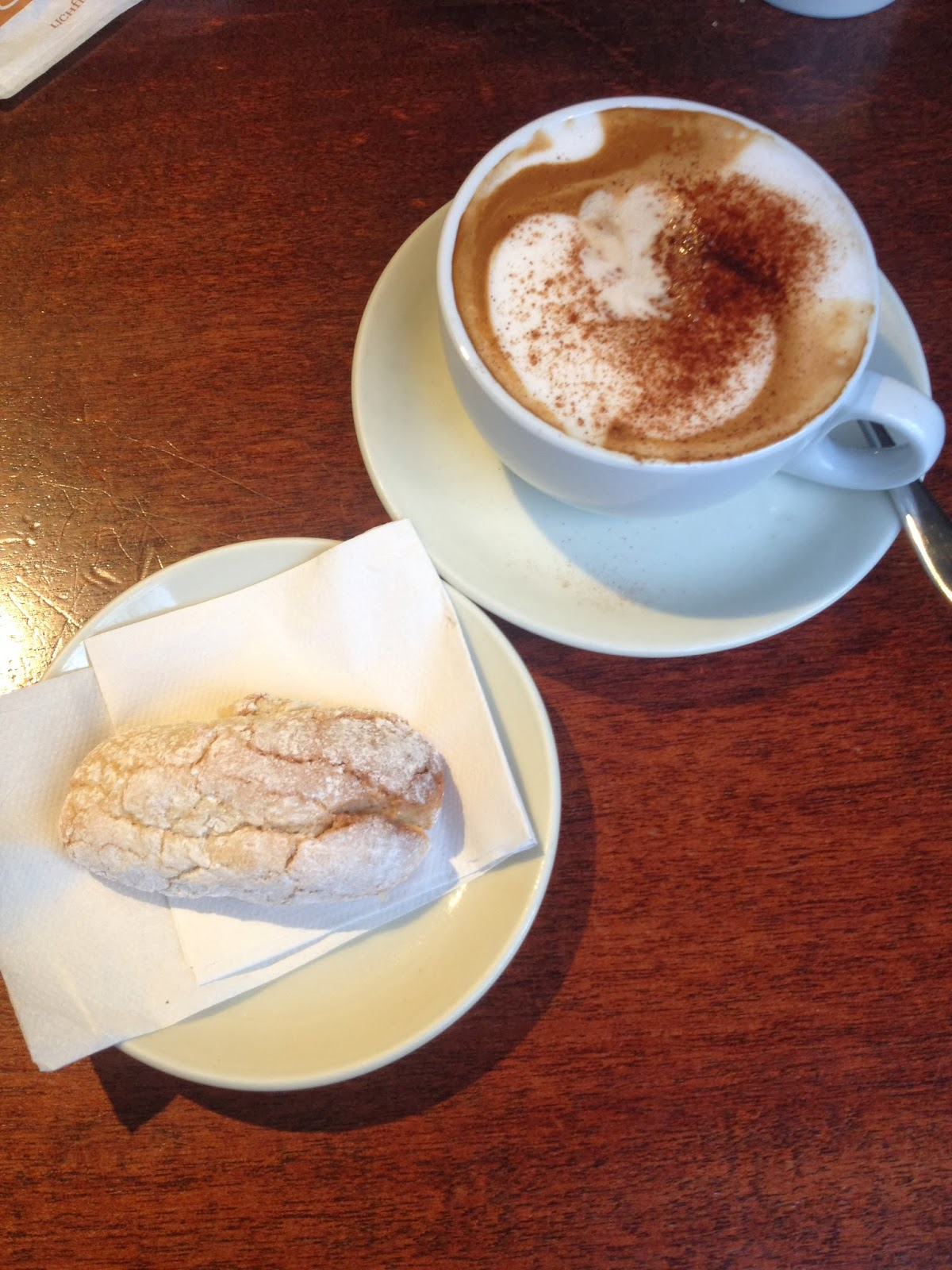 cappuccino, coffee, almond biscuit, italian cafe, italian cafe london