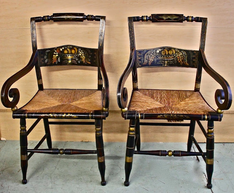 MJH Design Arts, New from Auction 10 fabulous 19th Century Hitchcock Dining Chairs: Details Below