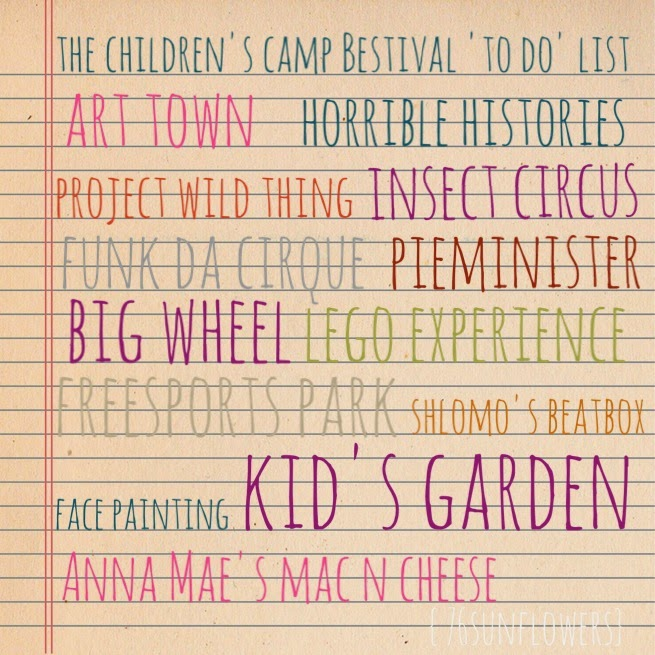 Camp Bestival 2014 Children's 'To do' list // 76sunflowers
