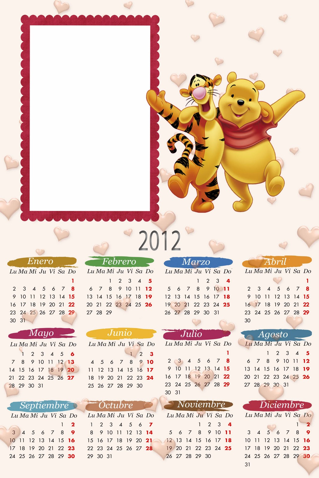 2012 Em PSD E PNG   Tem Calendario Do Mickey Minie Winnie The Pooh