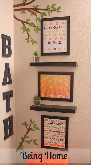 Boys Bathroom Makeover - After (BATH wall words and subway art)