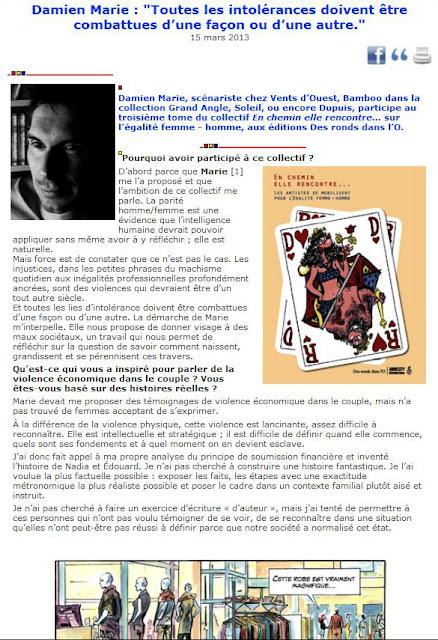 Damien Marie : Toutes les intolérances doivent être combattues d'une façon ou d'une autre. (ActuaBD - 15/03/2013)