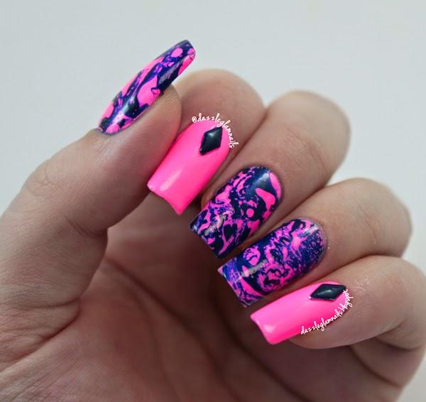 Dazzle Glam Nails Nail Art Blog Neon Psychedelic Swirl Nail Art