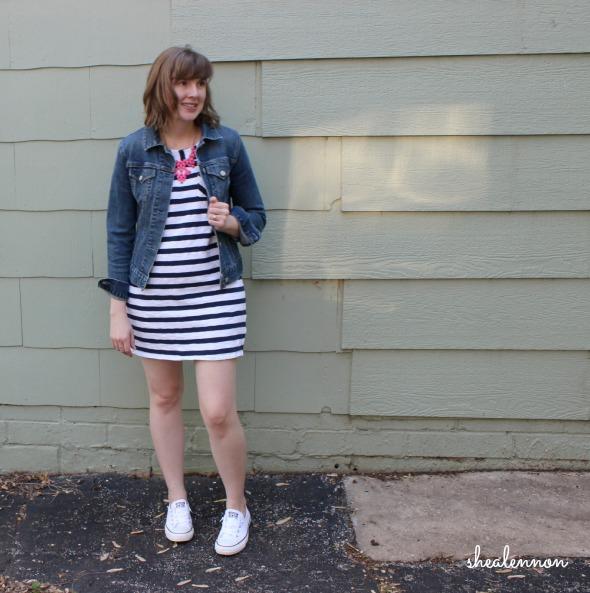 jean jacket, stripes, statement necklace, sneakers | www.shealennon.com