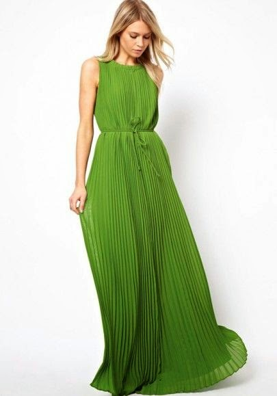 Green Plain Belt Ruffle Floor Length Dacron Dress