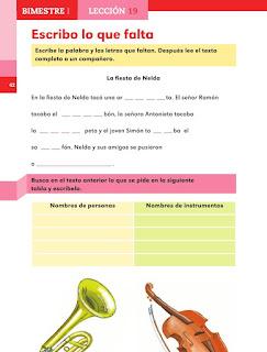 Apoyo Primaria Español 1er grado lección 19 Escribo lo que falta