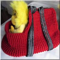 Sacola para transporte de PET feita com lã acrílica em crochê