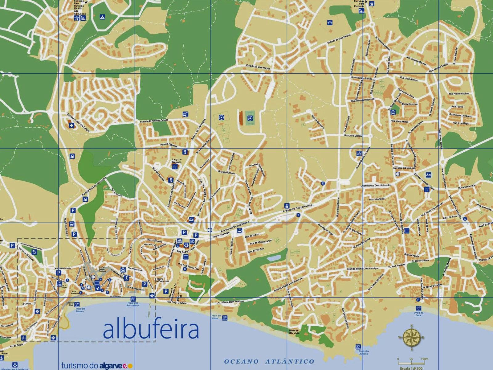 Albufeira Portugal Mapa Mapa de Albufeira Portugal