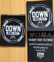 Custom made center fold woven garment labels