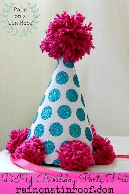DIY Birthday Party Hat {rainonatinroof.com} #DIY #birthday #hat #party #pink #blue