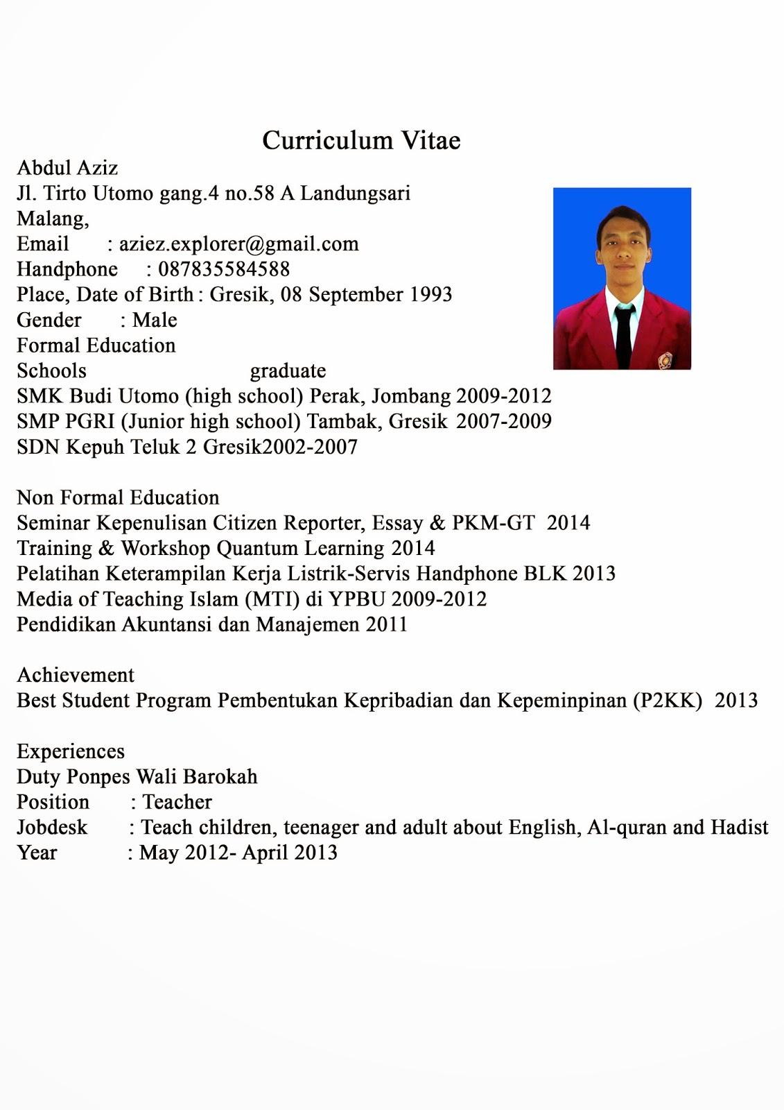 contoh CV yang benar dan baik | Free Android 10bangsa belajar