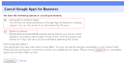 How to delete downgrade google apps for business