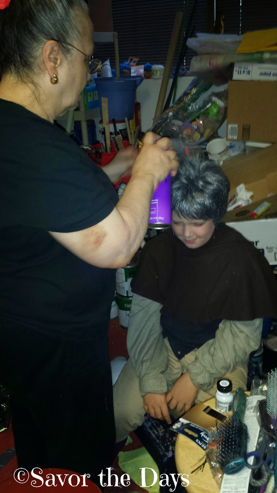 Children's theater - getting the wig styled