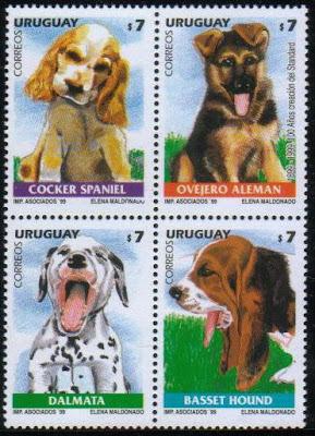 1999年ウルグアイ東方共和国 コッカー・スパニエル ジャーマン・シェパード ダルメシアン バセット・ハウンドの子犬の切手