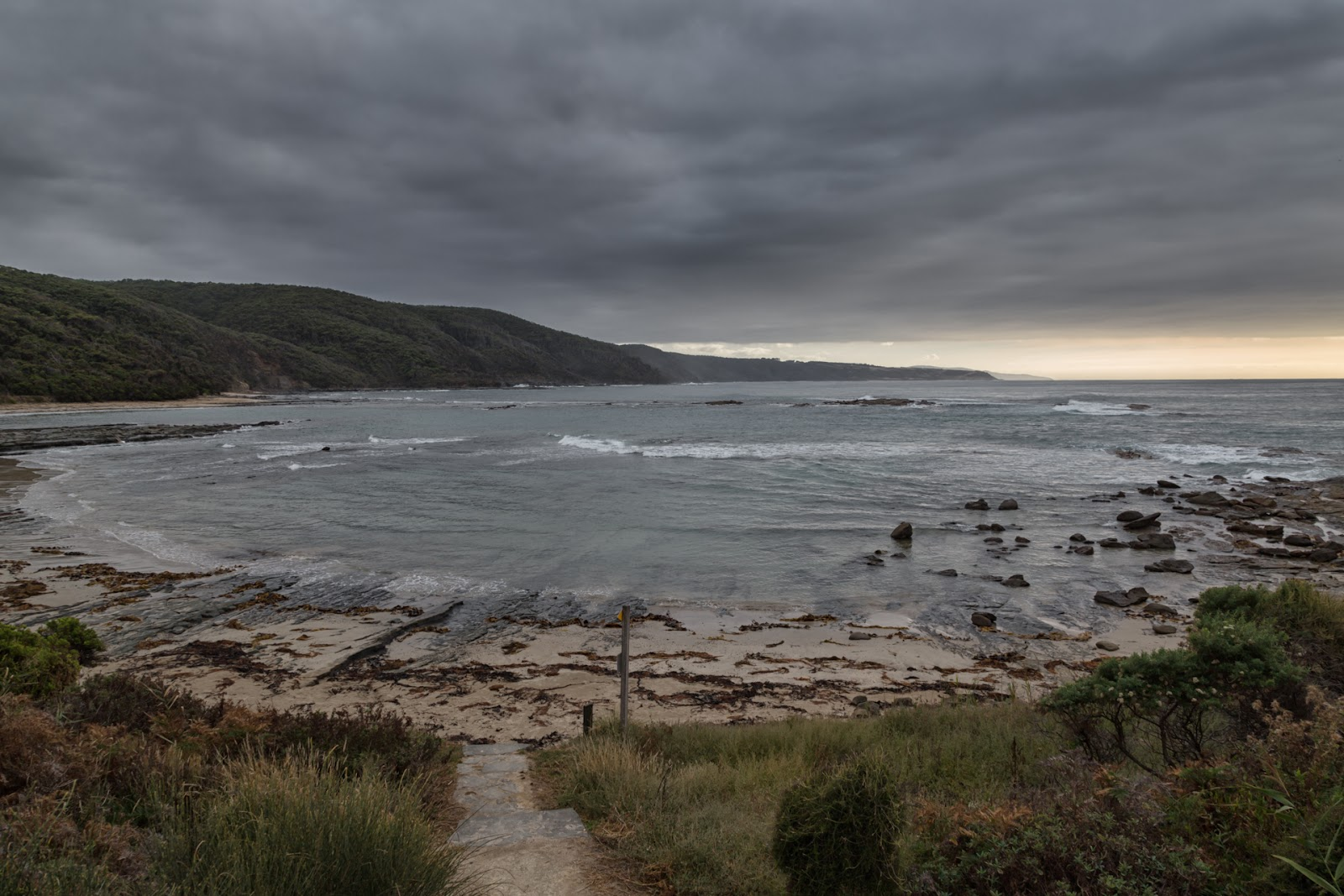 dark clouds over blanket bay otways