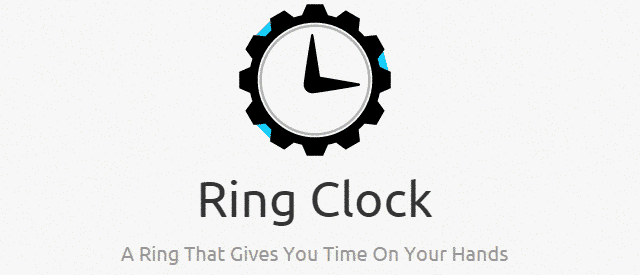 Ring Clock gives time on hands.