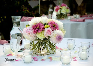Table arrangement in pink. Cooper Studios photo.