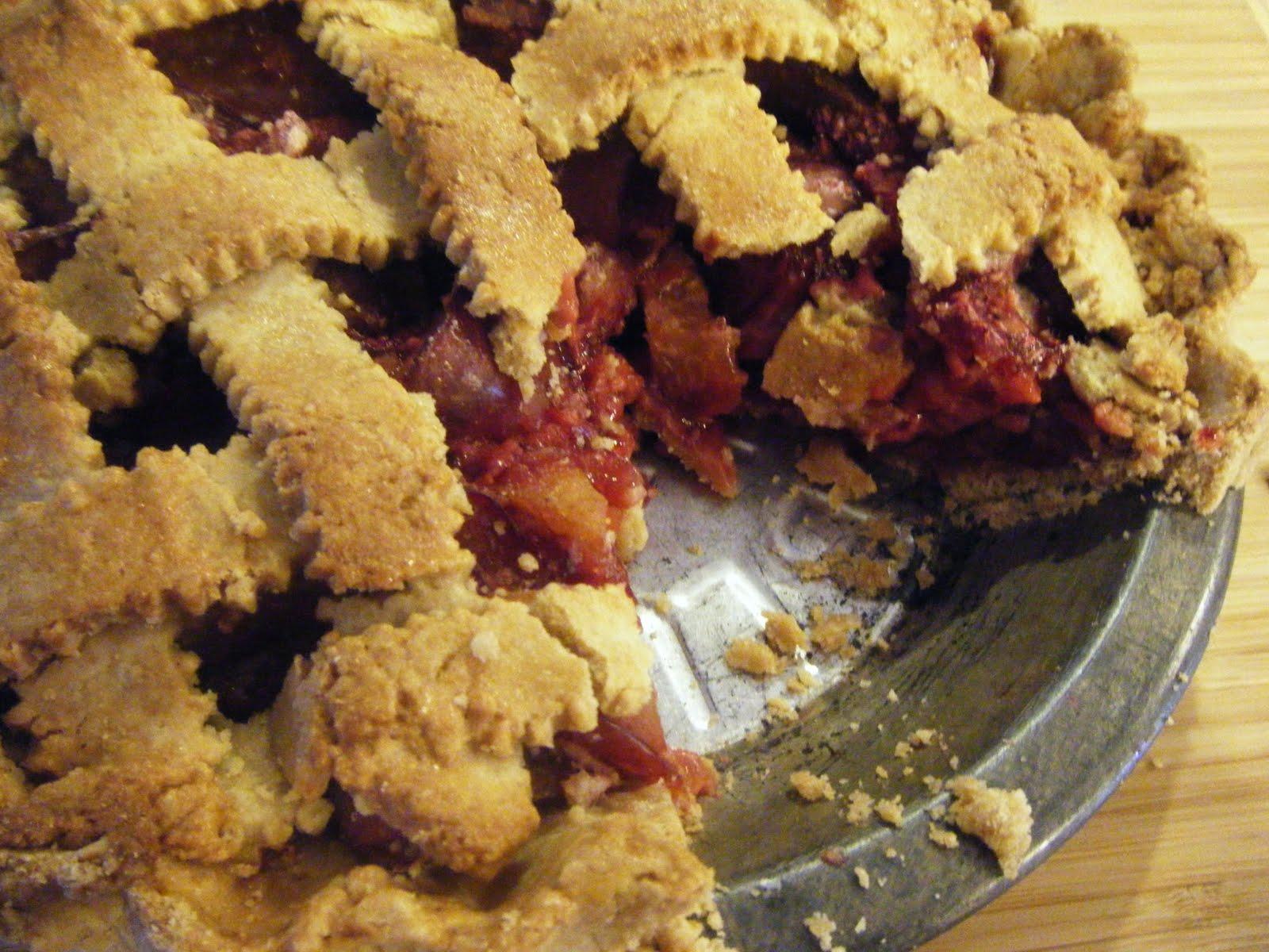 west side baker: Plum Raspberry Pie With A Sweet Almond Lattice