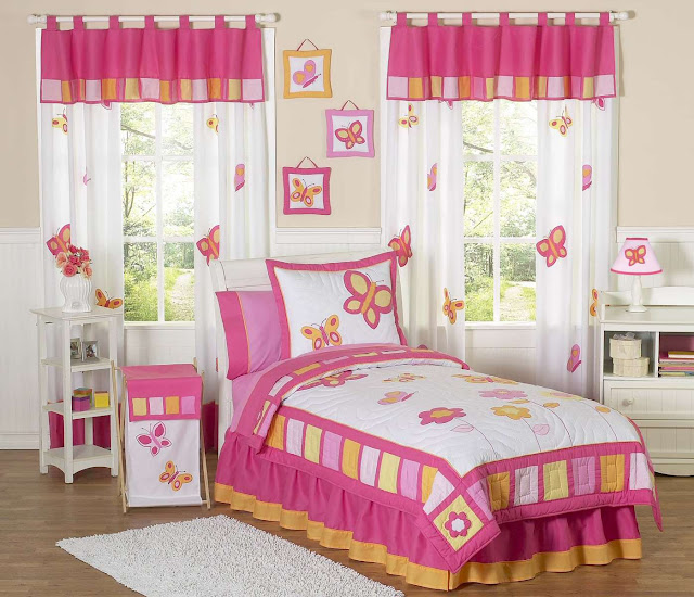 wonderful kid bedroom sets with combination pink and white toddler bed and double interesting curtain set