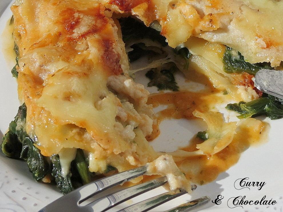 Lasaña vegetariana de espinacas y queso - Vegetarian spinach and cheese lasagna