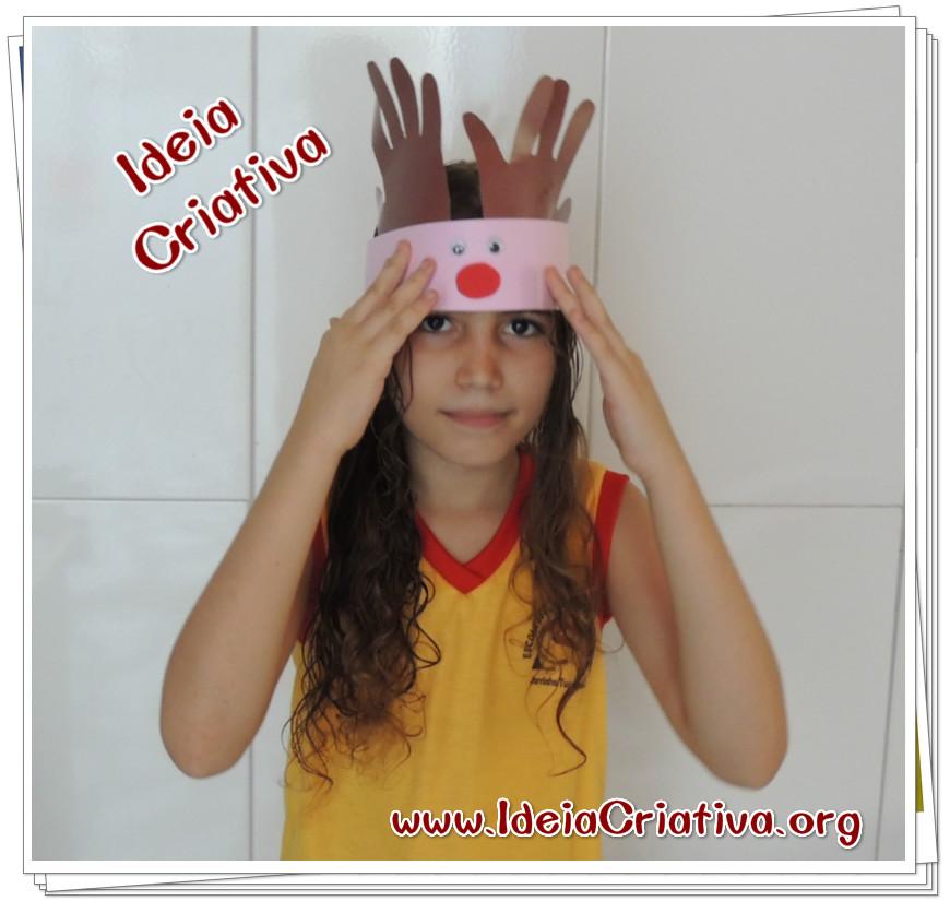 Chapéu Rena com Olhos Móveis Atividade Natalina Educação Infantil