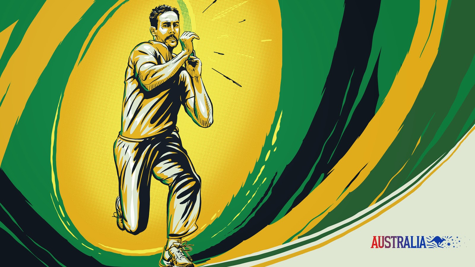Mitchell Johnson Australian cricketer illustration sketch
