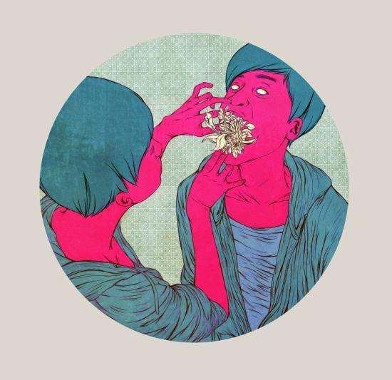 Mojo Wang ilustrações surreais bizarras intimidade