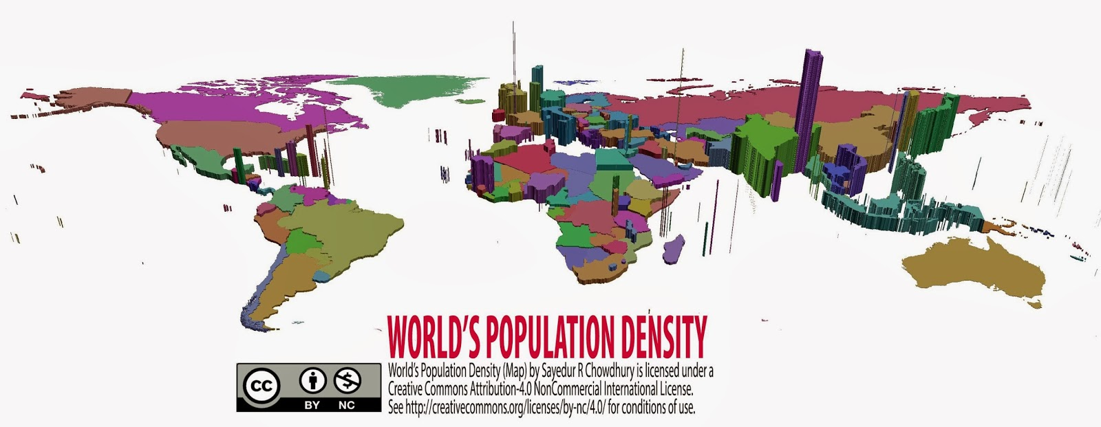 Population World Map 2014 World's Population Density Map