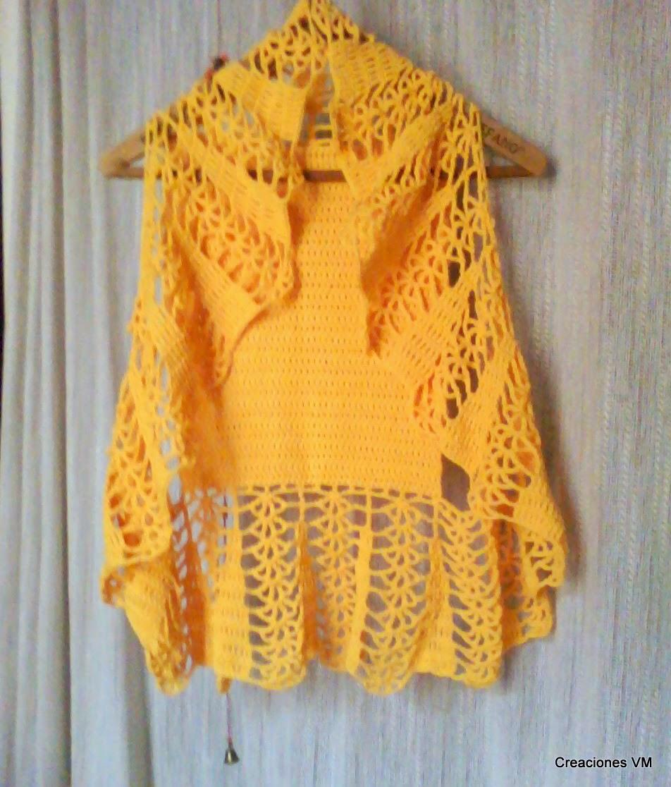 Chaleco tejido a crochet de estilo circular