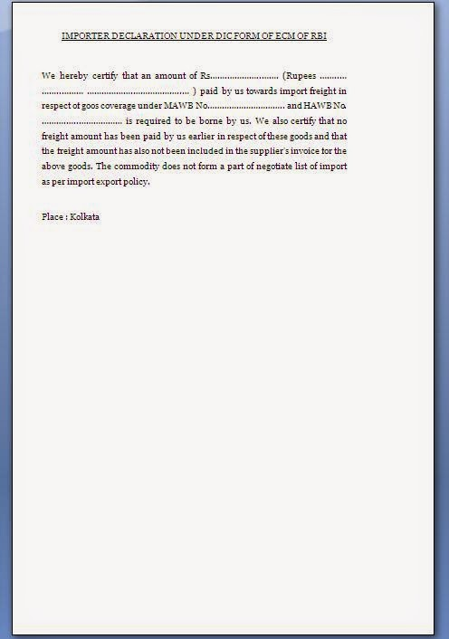 importer declaration certificate format