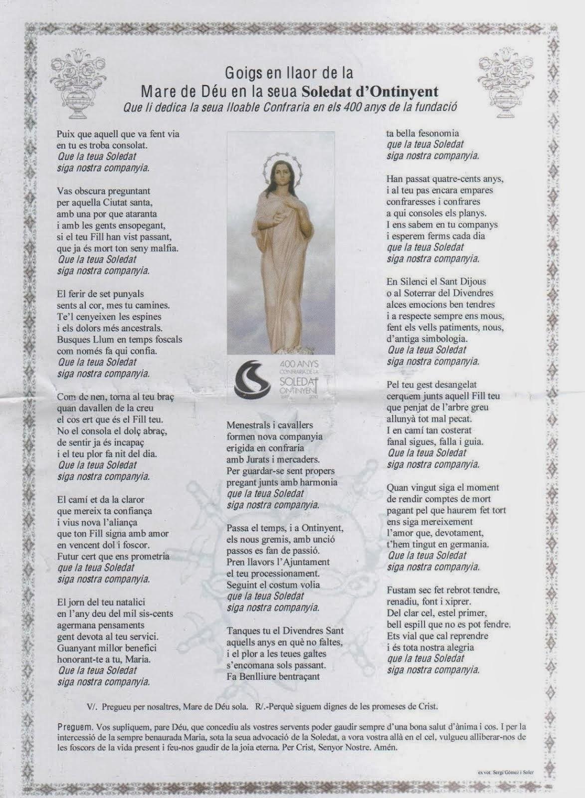 - Goigs en llaor de la Mare de Déu en la seua Soledat d'Ontinyent