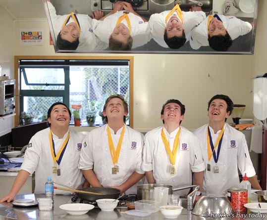 L-R: Daniel Kelly, year 11, Jakob Dawson, year 11, Sam Heaven, year 12, Daniel Moss, year 12, St John's College, Hastings. Between them they won seven gold and two silver medals at a culinary fare run by the New Zealand Chefs Association. They also won the New Zealand National Secondary Schools' Excellence Award. photograph
