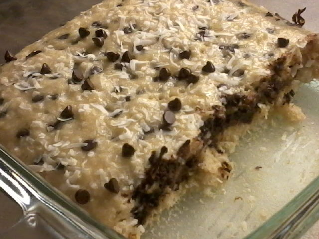 Films and Veganism: Easy Coconut Chocolate Chip Cake Bars