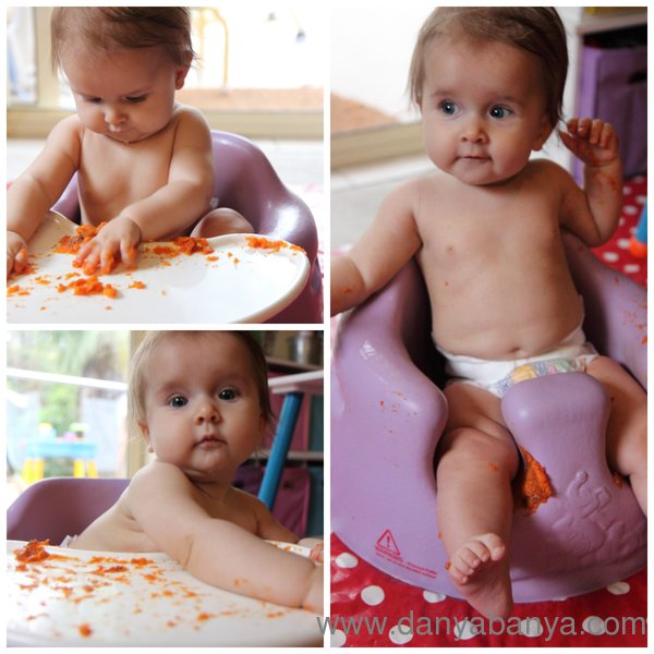 Baby painting with roasted sweat pototo