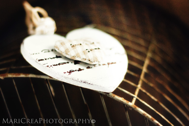wooden heart with bokeh