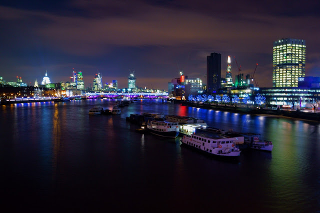 waterloo bridge, london, nightscape