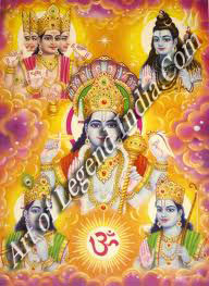 Fused image of Vishnu, Brahma, Shiva and Surya