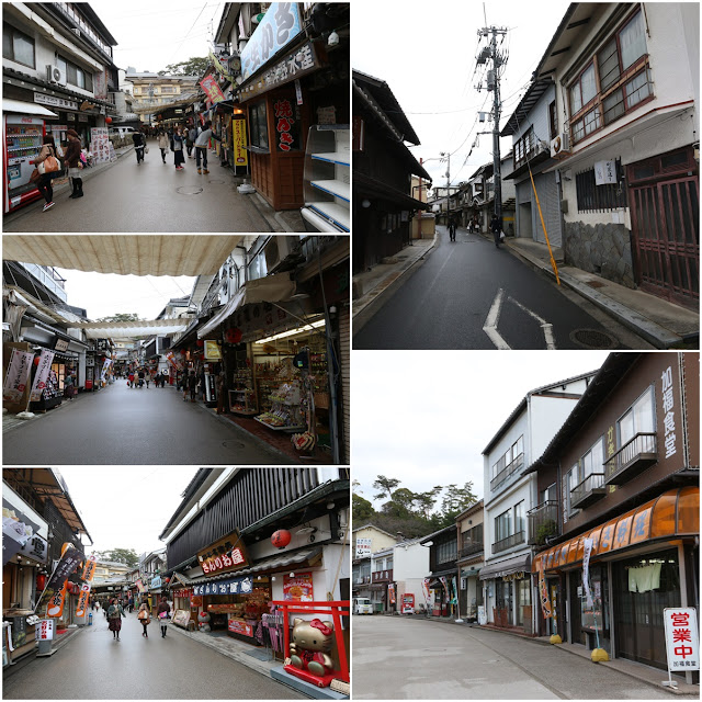 Friendly town depends on selling food and souvenirs to visitors at Miyajima Island, outside of Hiroshima city in Japan