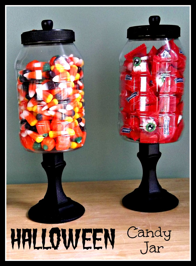 Vintage, Paint and more... recycled jars used with dollar store candle sticks to make Halloween candy jars