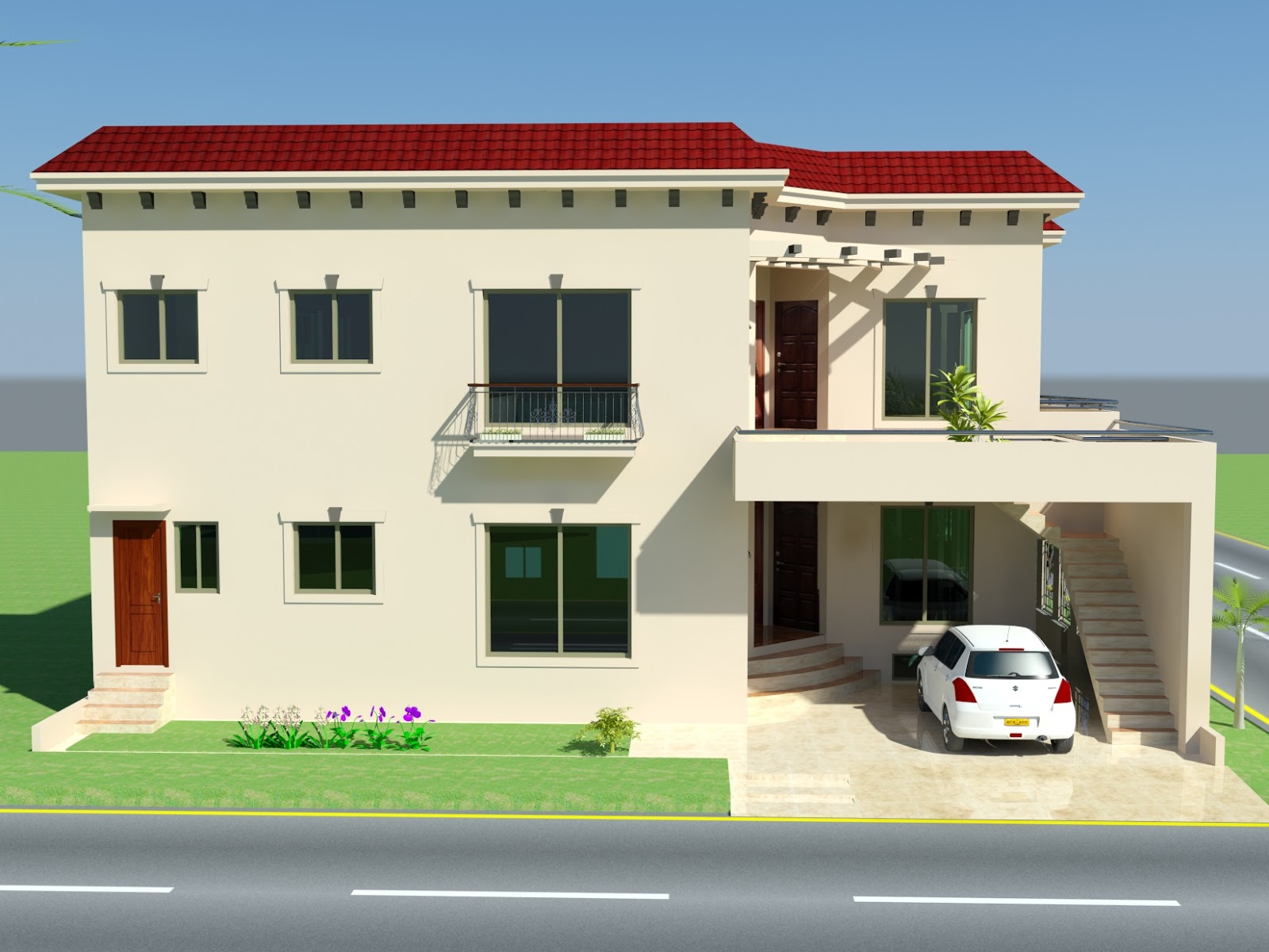 ... ,Corner Plot, 50' X 50' , 3D Front Elevation, Rawalpindi , Pakistan