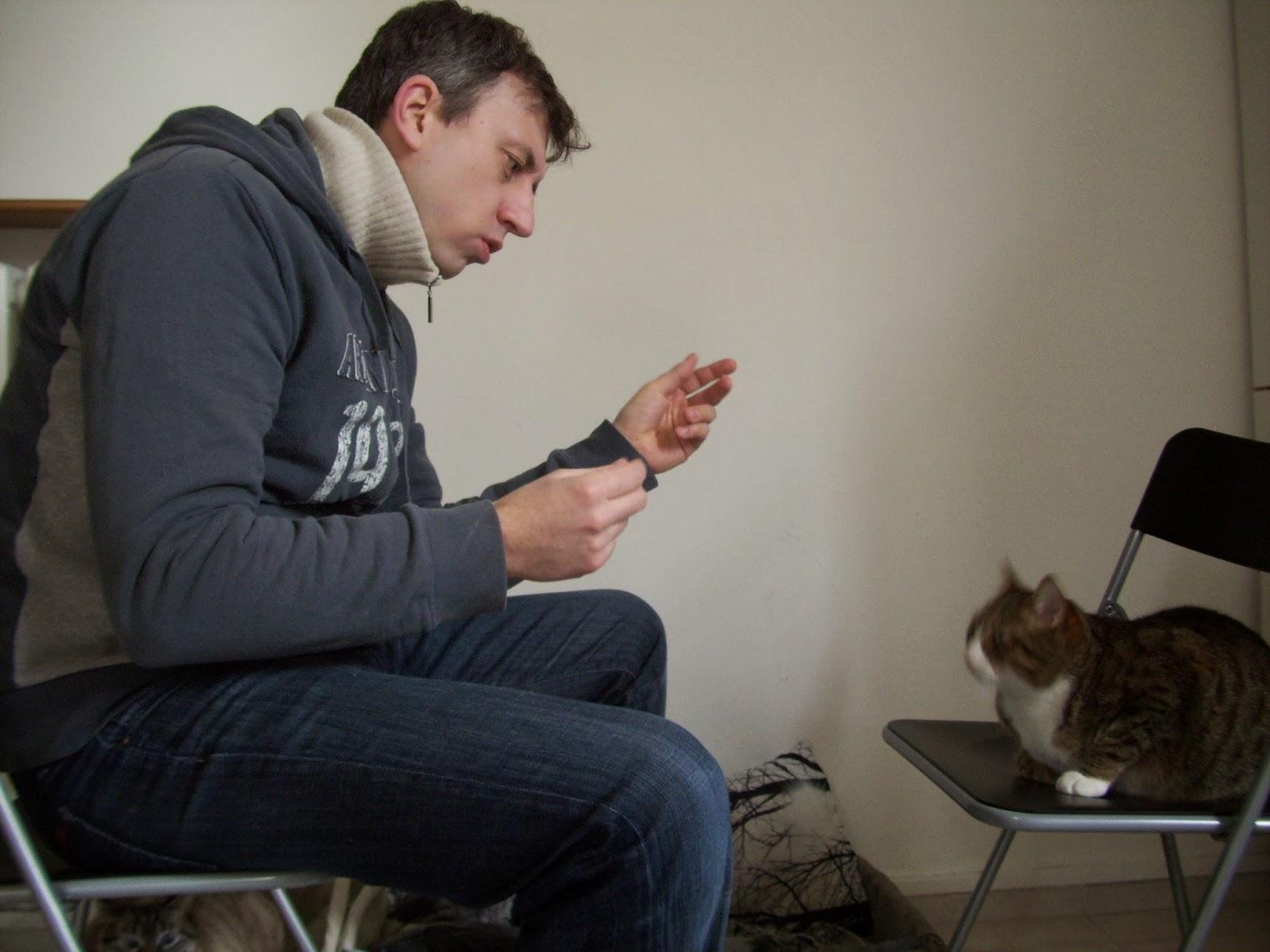 Foto che mi ritrarae seduto di profilo su una sedia con di fronte un'altra sedia con seduto sopra il mio gatto Peppino e io ci parlo utilizzando il counseling come fosse un cliente