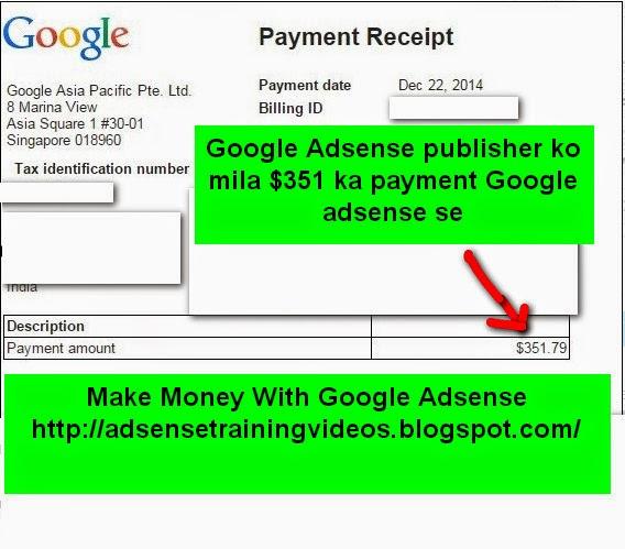 Google Adsense publisher ko mila $351 ka payment Google adsnese se -see payment reciept