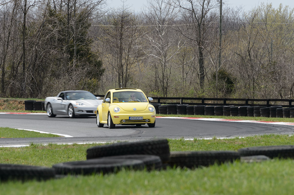 Peg races a Corvette at Summit Point